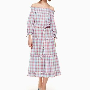 Kate spade madras off shoulder dress